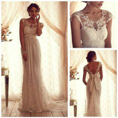 Romantisch Zarte Spitze Brautmode Column Rückenlos Hochzeitskleid Maßanfertigung   eBay