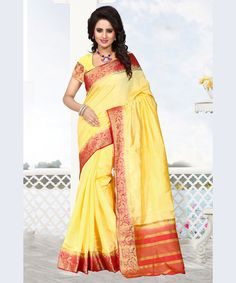 Buy Yellow Raw Silk Saree With Blouse 68208 with blouse online at lowest price from vast collection of sarees at Indianclothstore.com.