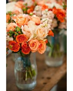 orange peach wedding flower bouquet bridal bouquet wedding flowers add pic source on comment and we will update it. can create this beautiful wedding flower look. Rosas Color Coral, Coral Roses, Blush Roses, Red Roses, Orange Wedding Flowers, Orange Flowers, Beautiful Flowers, Autumn Flowers, Colorful Roses