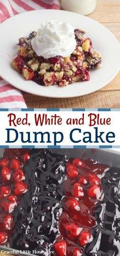 If you want an easy patriotic dessert then you'll definitely want to try this Red, White and Blue Dump Cake that is made with pie filling and a cake mix! Memorial Day Desserts, Memorial Day Foods, Patriotic Desserts, Easy Desserts, Delicious Desserts, Cake Recipes, Dessert Recipes, Recipes Dinner, Breakfast Recipes