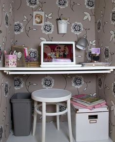 This IKEA PAX is Hiding a Femme Wallpapered Workspace