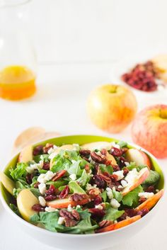 @JessicasKitchen Apple Pecan and Feta Salad with Honey Apple Dressing is loaded with fall flavours and is sweet, crunchy and good for you! #apple #salad #fall #healthy #vegetarian