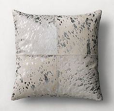 RH's Metallic Cowhide 4-Panel Pillow Cover - Square:FREE SHIPPING The rustic beauty of natural cowhide heightened by the allure of metallic highlights. Soft cowhide is hand-screened with a gleaming foil finish, revealing stunning textural variations and shimmery mottled patterns reminiscent of burnished metal.