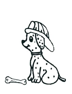 Fireman Dalmatian Puppy Coloring Page