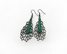 Limited edition designer earrings, modern, contemporary jewelry design, FREE Shipping, handmade, lasercut wood, polymer clay, steel hooks