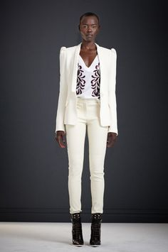 Winter White Textured Wool Decorative Sleeve Blazer  Natural White Merino V-Neck Sweater with Terry Embroidery  Winter White Bounded Leather Skinny Pant  Mesa Boot