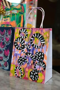 Painted paper grocery bags