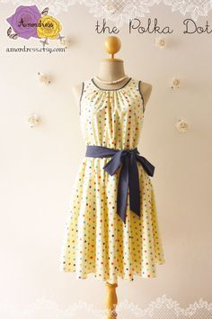 The Polka Dot Dress Butter Cream Dress Colorful Polka by Amordress, $45.00