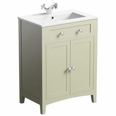 If you need extra space in your bathroom, the Camberley Sage 600 Door Unit & Basin has plenty of storage behind the double doors and is finished in a traditional sage colour, which exudes period elegance. The door unit offers ample space to store all of your bathroom products and accessories without compromising on style. The ceramic basin is inset into the unit  and is an ideal solution for traditional bathrooms.