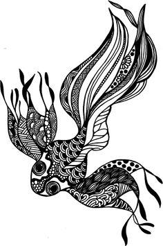 Black and white drawing using pen #fish #goldfish #doodle #doodling #drawing