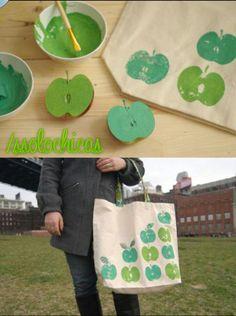 DIY+bolso+manzanas  natural, tonos verdes !