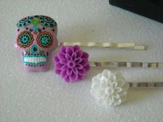 Day of the Dead Skull with Purple and White by OctoberPetals, $8.75