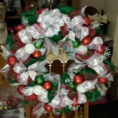 Red, white and green deco mesh Christmas wreath