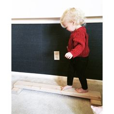 Inspired by Villa Maria Montessori and built Charlotte a balance beam today. :) Check out her amazing blog.