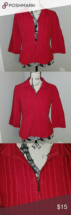 Christopher & Banks zip jacket Red embroidered fabric really adds some wow to this zip front jacket with 3/4 sleeves. Great condition! 57% cotton, 38% polyester, 5% spandex Christopher & Banks Jackets & Coats
