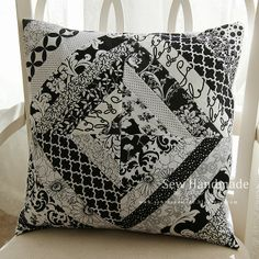 Black-and-white quilted string pillow. www.sew-handmade.blogspot.com