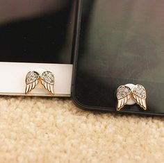 1PC Bling Crystal Angel's Wing Apple iPhone Home Button Sticker for iPhone 4,4s,4g, iPhone 5, iPad, Cell Phone Charm. $4.99, via Etsy.