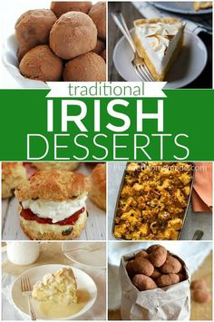These St. Patrick's Day Desserts include 24 Irish desserts, Traditional Irish Desserts, Green Desserts and St. Patrick's Day Cupcakes too! Easy Irish Recipes, Scottish Recipes, Scottish Desserts, Dessert Simple, Easy Desserts, Dessert Recipes, Asian Desserts, Candy Recipes, Saint Patrick's Day