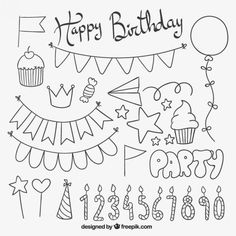 Over a million free vectors, PSD, photos and free icons. Over a million free vectors, PSD, photos and free icons. Exclusive freebies and all the graphic res Birthday Doodle, Birthday Card Drawing, Birthday Cards, Free Birthday, Happy Birthday, Birthday Icon, Doodle Drawings, Easy Drawings, Doodle Art
