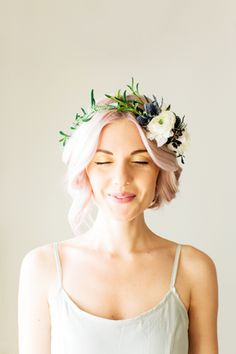 Blue and whote floral crown | Tinge: Floral Design by Ashley Beyer #crown