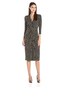 Anne Klein Womens Edo Print Knot Front Dress Black Combo 6 ** Check this awesome product by going to the link at the image.