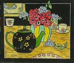 The lovely margaret preston Australian Painters, Australian Artists, Margaret Preston, Drawing Borders, Linocut Prints, Art Prints, Art Techniques, Teapot, Flower Art