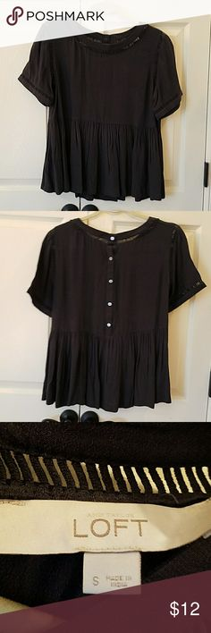 LOFT Top EUC Super cute Short-sleeved top!  Has inset trim.  Has ruffled bottom.  Buttons down back.  Only worn once.  No flaws. LOFT Tops Blouses