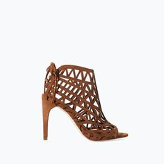 ZARA - SHOES & BAGS - OPEN WORK HIGH HEEL LEATHER SANDAL