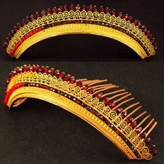 Antique French Empire Vermeil & Faux Garnet Diadem Hair Comb Tiara