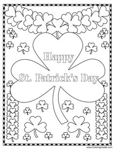 happy st patrick s day coloring page pinterest fun activities