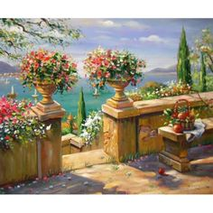 Hand Painted Oil Painting On Canvas Impression Mediterranean Seaside Garden Vill