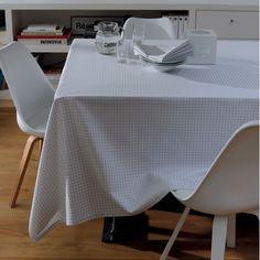 Nappe style scandinave Garnier-Thiebaut - Modèle : Illusion - Nappe en coton anti-tâche - Coloris : gris