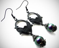 Black Gothic Earrings Art Nouveau Earrings by MadameMoriarty, $15.00