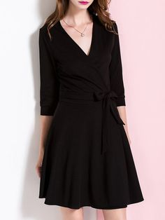 Shop Mini Dresses - Simple A-line 3/4 Sleeve Surplice Neck Mini Dress online. Discover unique designers fashion at StyleWe.com.