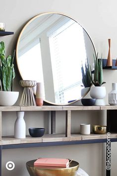 Mar 2020 - Find mirrors for an instant home decor refresh. Brighten up walls, entryways, bathrooms & vanities with stylish mirrors. Cute Room Decor, Teen Room Decor, Room Ideas Bedroom, Bedroom Decor, Wall Decor, Home Design, Home Interior, Interior Colors, Interior Livingroom