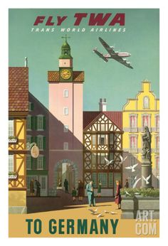 Germany - Fly TWA Trans World Airlines Giclee Print by S. Greco at Art.com
