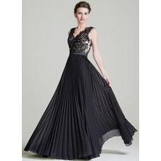 A-Line/Princess V-neck Floor-Length Beading Sequins Pleated Zipper Up Regular Straps Sleeveless No 2016 Black Spring Summer Fall General Plus Chiffon Mother of the Bride Dress