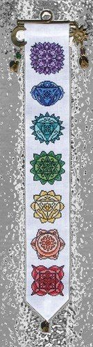 """Namaste"" is the title of this cross stitch pattern from Ink Circles that features mini-mandalas that represent each of the seven chakras, o..."