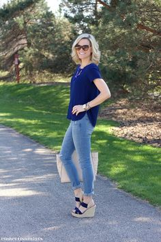 Wearing stilettos isn't always convenient, but I still like to look put together, and best, on my casual days. Check out my tips on How To Dress Up Casual Days on www.Embellishmints.com #LadiesInLevis #ad