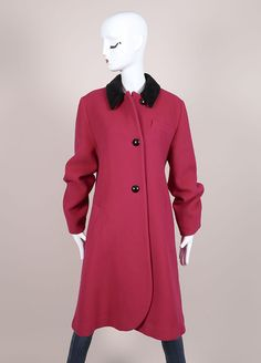 Pink and Black Wool Velour Trim Long Sleeve Coat