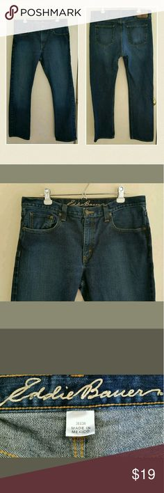 Men's Classic Fit Eddie Bauer Jeans 36 x 36 Eddie Bauer Men's Straight Fit Jeans   Size 36 x 36 (Measure True to Size Lying Flat)  Medium Dark Wash  Gently Used - No Flaws Found Upon Inspection and Photographing - See Photos for Condition Description  Smoke Free, Pet Friendly Eddie Bauer Jeans Straight