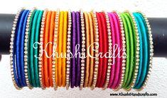 Rainbow Inspired Designer Multi Coloured Silk Bangleswts up 9121010270 Silk Thread Bangles Design, Silk Bangles, Silk Thread Earrings, Bridal Bangles, Thread Jewellery, Bridal Jewellery Inspiration, Handmade Wire Jewelry, Diy, Threading