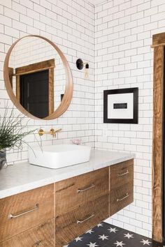 The most incredible rustic bathroom examples. If you are also lover of rustic bathroom design, you simply have to check it! Black Bathroom Floor Tiles, Wood Bathroom, Bathroom Renos, Bathroom Flooring, White Subway Tile Bathroom, Tiled Walls In Bathroom, Bathroom Backsplash Tile, Tile For Small Bathroom, Cement Tiles Bathroom