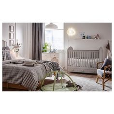 A light grey cot in a white and light grey parent's bedroom. Crib Toddler Bed, Room, Nursery Baby Room, Master Bedroom Nursery, Room Inspiration, Nursery Guest Room Combo, Parents Bedroom, Baby Bedroom, Cribs
