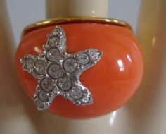 KJL Kenneth Jay Lane Couture Coral Starfish Dome Ring Size 6 1/2  6.5 #KennethJayLane