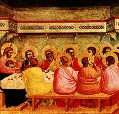 GIOTTO di Bondone - Last Supper, Tempera on wood, x 43 cm Alte Pinakothek, Munich Fra Angelico, Religious Paintings, Religious Art, Religious Pictures, Tempera, Bayeux Tapestry, Life Of Christ, Jesus Christ, Late Middle Ages