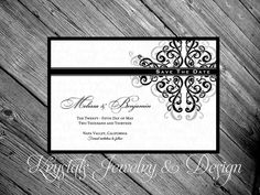 Elegant and Formal Damask Save The Dates Wedding invitation - Cardstock - Customized to Your Colors