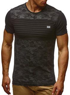 buy popular ae0ce 6a0f0 LEIF NELSON Herren T-Shirt Hoodie Longsleeve Kurzarm Shirt Sweatshirt  Rundhals Camouflage LN405  Grš