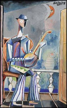 Le musicien by Jean-Philippe Dallaire QMG 1916 - 1965 Canadian gouache on card circa 1950 13 x 8 in x cm Jean Philippe, Ecole Art, Canadian Art, Fine Art Auctions, Gouache, Arts, Cool Stuff, Music, Painting