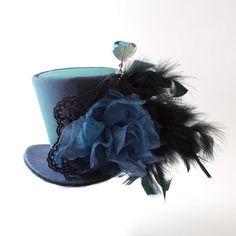 Burlesque, Gothic, Steampunk, Alice in Wonderland, Fascinator,Show Girl,Victorian,Mad Hatter, Pink and Green Iridescent taffeta Mini Top Hat...